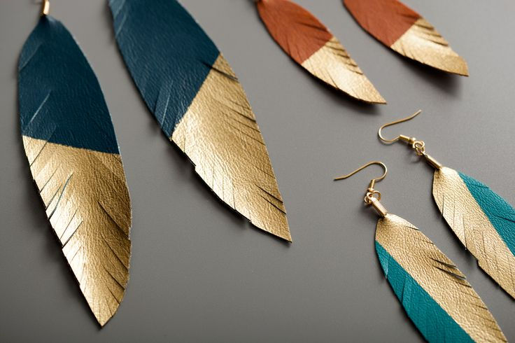How to Make Gold-Dipped Leather Feather Earrings via Brit + Co.