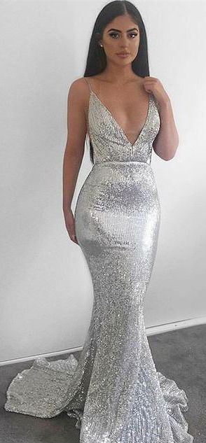 b1159b7fef70 Modest Silver Mermaid Sequined Deep V Neck Backless Prom dresses ...