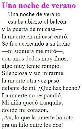 Este poema pertenece a el libro de poesías de Antonio Machado publicado en el 1912. Antonio Machado en este poema refleja la soledad de su existencia. Creo que se sentía muy sola y eso queda reflejado en este poema. Al describir la tranquila noche de verano, refleja lo incómodo que se siente en ese momento, y se describe a el mismo como si fuera un fantasma. He escogido este texto porque Antonio Machado nos quiero decir que en los últimos momentos de su vida se encontraba solo
