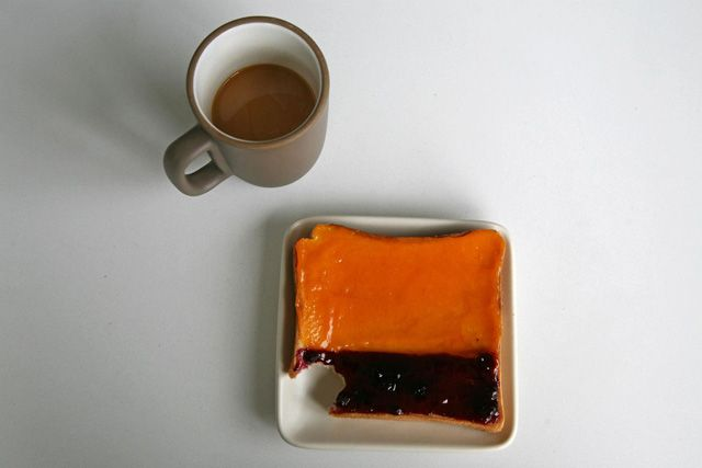 """Behold: Rothko toast, the latest artsy menu item SFMOMA's café on Third Street. Like the work that inspired it (""""No. 14, 1960"""") the toast features two tones of color (apricot butter and wild blueberry jam, in this case). Unlike Rothko's priceless piece, this toast will probably only run you a couple bucks and comes mounted on Acme pain de mie, rather than canvas."""