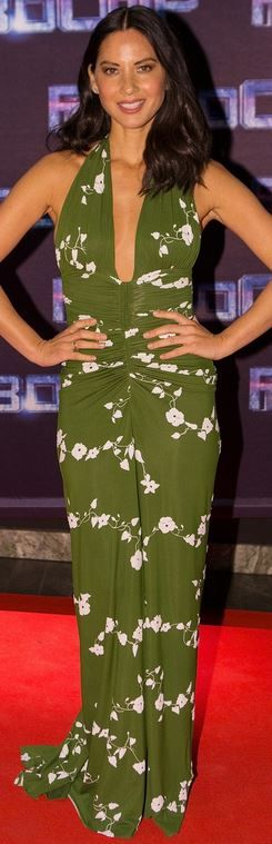 Olivia Munn's green floral ruched gown by Michael Kors
