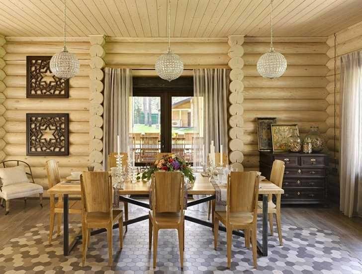 Современный бревенчатый дом на берегу Волги | Пуфик - блог о дизайне интерьера