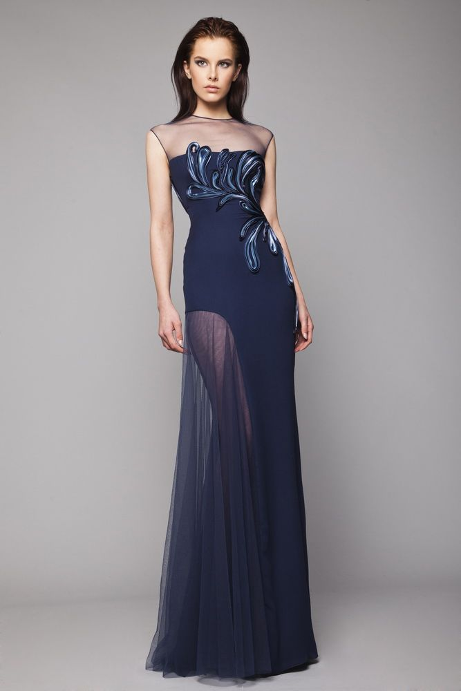Navy Silk Georgette full-length dress with high slit and Tulle overlay, embroidered ribbon foliage on the bodice and sheer neckline.