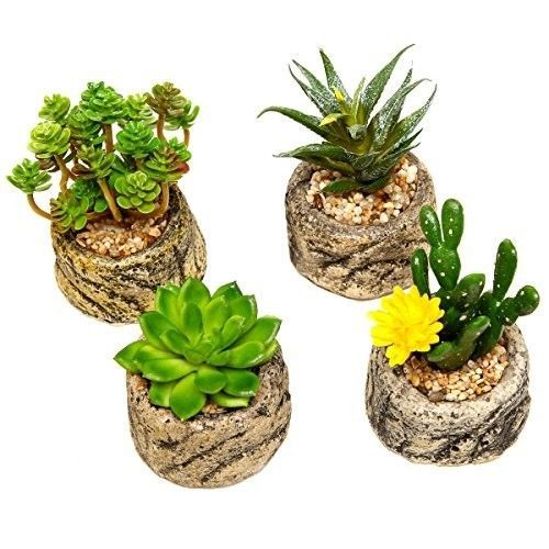 Assorted-Set-4-Green-Artificial-Faux-Mini-Succulent-Plants-Potted-Pot-Decor-New