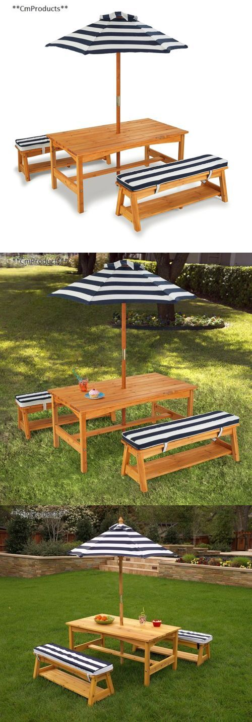 Play Tables and Chairs 66743: Kidkraft Outdoor Table And Chair Set With Cushions Navy Stripes -> BUY IT NOW ONLY: $206.56 on eBay!