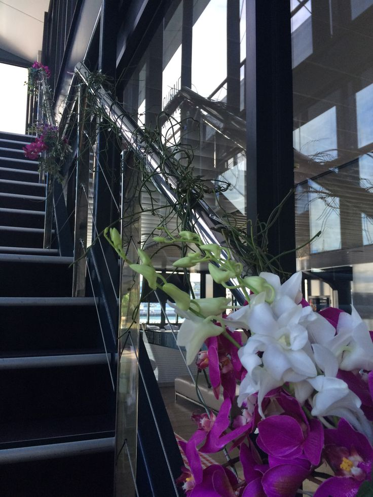 Floral detailing on Starship Sydney Stairway Orchids, Dodo and fairy lights http://www.bespokesocial.com.au/ http://www.starshipsydney.com.au/