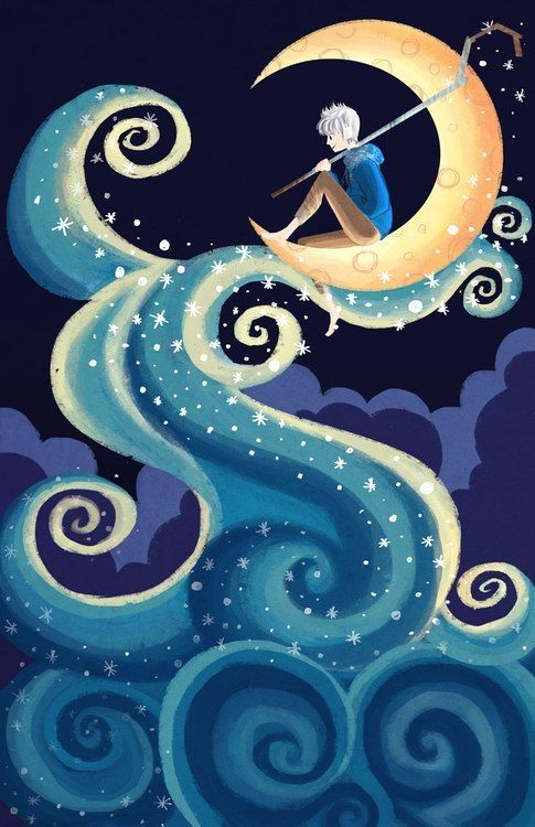 "Jack Frost - such a cute picture! I love the moon and the swirlies. This reminds me of ""Starry Night"""