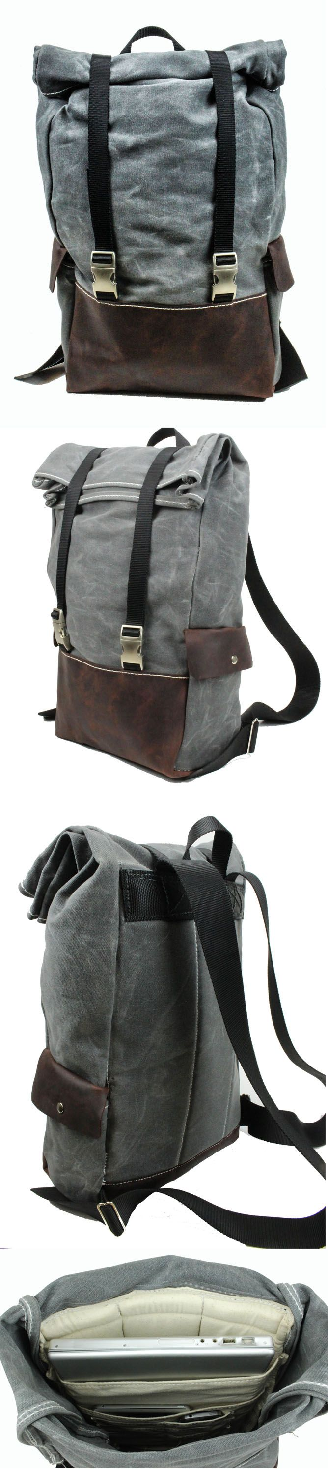 Rugged Material's Weatherproof Roll-top Laptop Backpack. Waxed Canvas, Leather and all metal hardware. Lifetime Guarantee.