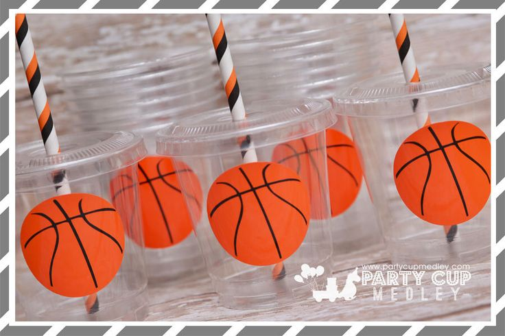 Basketball  Birthday Party Cups-Favor Cups-Souvenir Cups Lids Straws by PartyCupMedley on Etsy https://www.etsy.com/listing/268767898/basketball-birthday-party-cups-favor