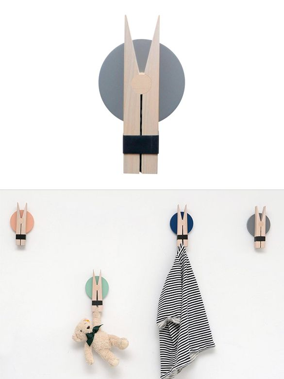 Peggy is an oversized wall hook inspired by a wooden clothespin. Designby Lucie Kaas.