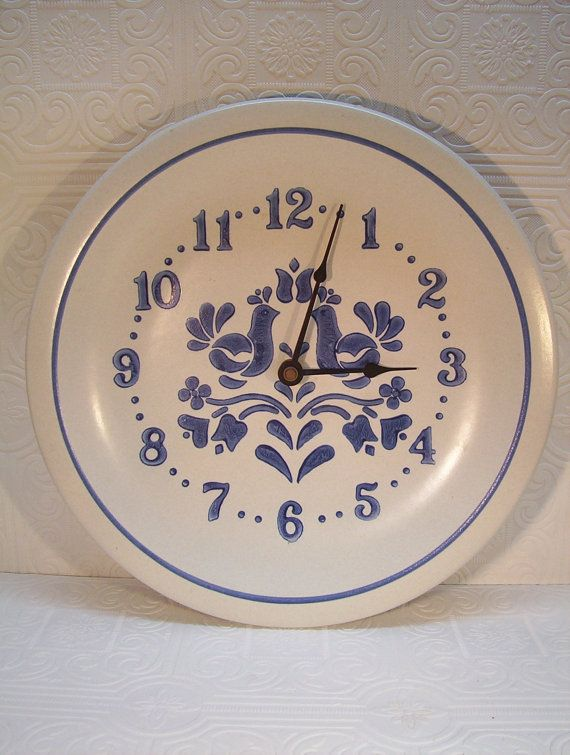 vintage pfaltzgraff yorktowne clock plate blue floral made in usa 10 and one fourth inches on