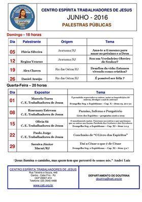 Calendário de Palestras Públicas do CETJ – Junho de 2016 - Cabo Frio - RJ - http://www.agendaespiritabrasil.com.br/2016/06/01/calendario-de-palestras-publicas-do-cetj-junho-de-2016-cabo-frio-rj/