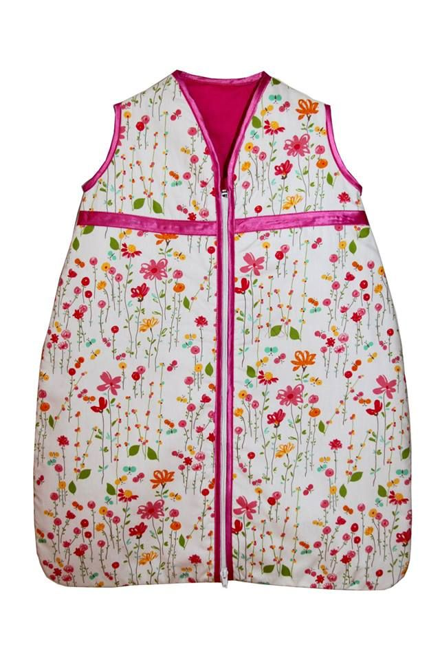 Flower/Butterfly print sleeping bag available in sizes 0-36 months for R350.