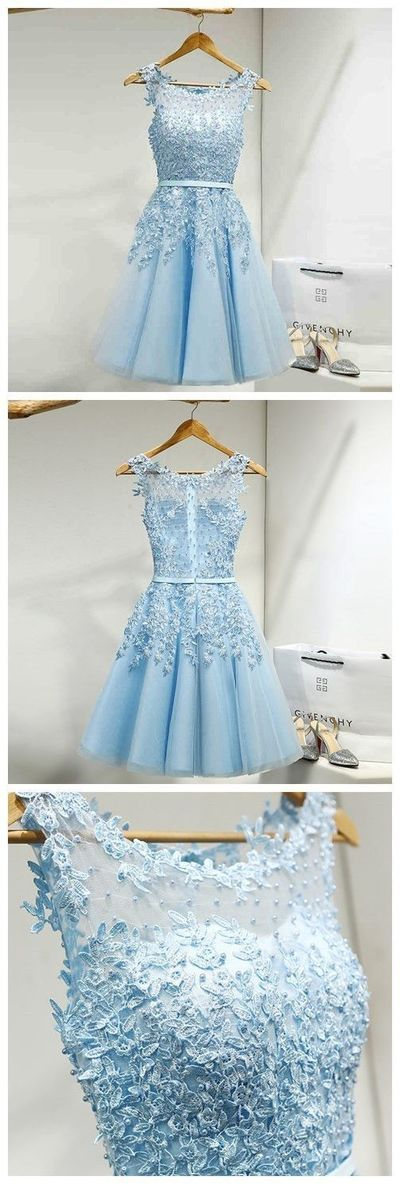 Tulle Homecoming Dress,Appliques Homecoming Dresses,Short Homecoming Dress,light blue tulle Prom Party dress