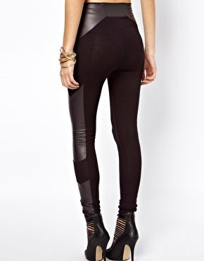 Leggings in High Waist with Leather Look Panel Detail