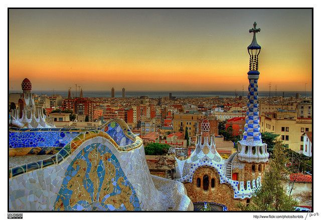 Parc Güell - Barcelona  A view of Barcelona from the terrace of the Park Güell, by the architect Antoni Gaudí, taken at dusk