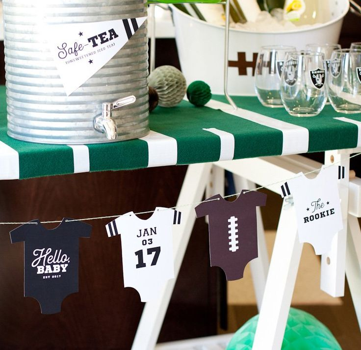 Football themed baby shower - baby onesie banner free printable