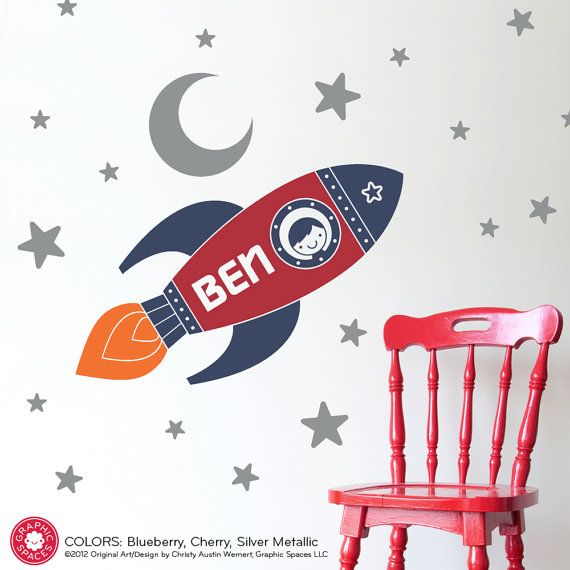 Rocket Wall Decal Boys Name Outer Space Nursery Kids Room via Etsy