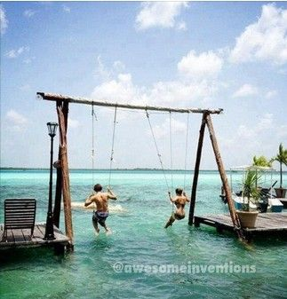 dream home, put a net behind the swings, creating a swim area, perfect idea