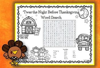 Twas the Night Before Thanksgiving Word Search and Coloring Page