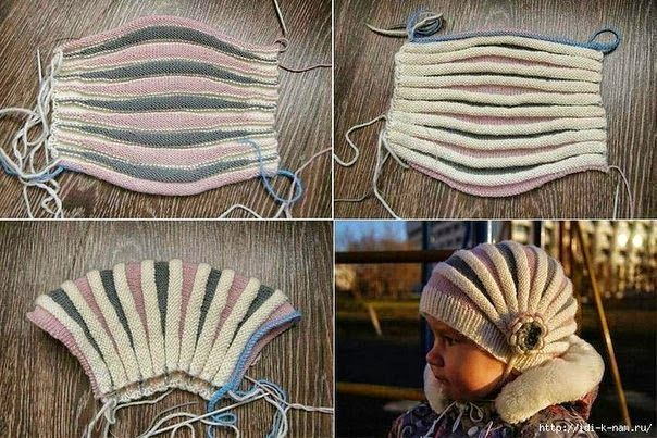 Un gorro genial! tejido con dos agujas (palillos)   Crochet y Dos agujas