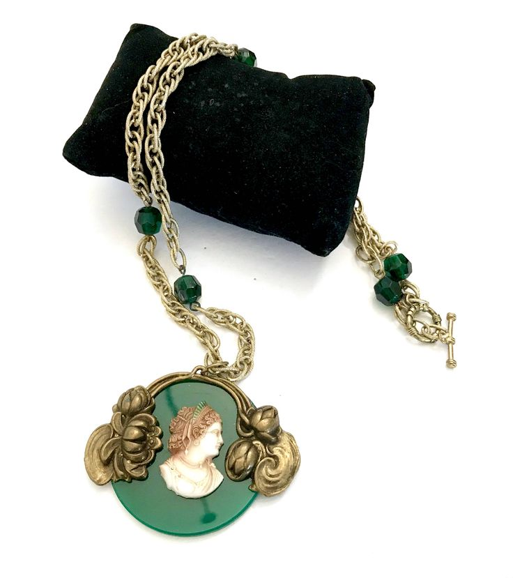 New Items Daily, Pls.Follow, PlsShare, Art Nouveau Style Cameo Assemblage Necklace, Molded Resin Cameo, Large Green Glass, Gold Tone Metal Accents, Gold Tone Chain, Gift for Her http://etsy.me/2oHMtzy #vintagejewelry #CameoNecklace, #ArtNouveauStyle