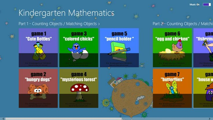 """Kindergarten Mathematics // Kindergarten Mathematics """"Counting Objects & Matching Objects"""" by KIDUCATION SOFTWARE will help your child learn basic mathematics. This program has 3 parts and 15 games. Learning does not have to be boring, let's explore the learning world with fun! This is a game app for kids to learn counting objects and matching objects. All games are played using drag and drop. Each game is easily discovered."""