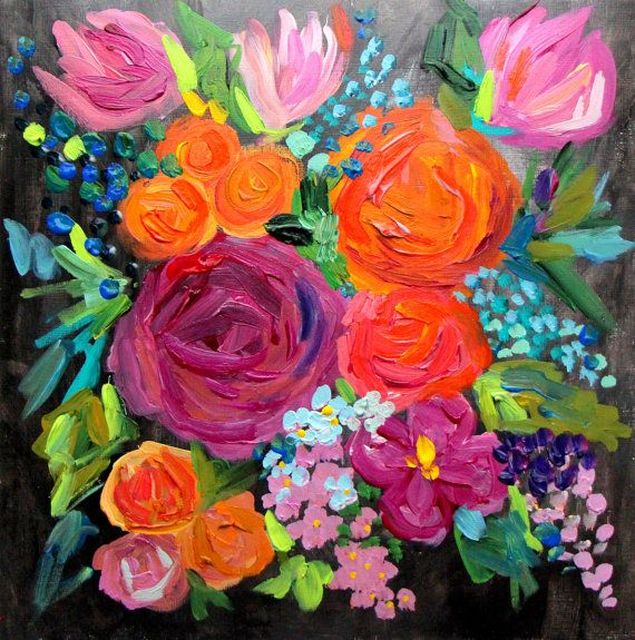 Original Small Abstract Flower Painting on by BluePoppyDesign, $55.00