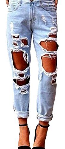 New Trending Denim: xiaoming Womens Ripped Hole Jean Distressed Straight Washed Blue Denim Pants. xiaoming Women's Ripped Hole Jean Distressed Straight Washed Blue Denim Pants  Special Offer: $31.54  322 Reviews Notes:1.Asian size,we suggest you choose one size up;2.Color differences allowed for light effects;3.Shipped by USPS,takes 8-15 days for delivery. Size...