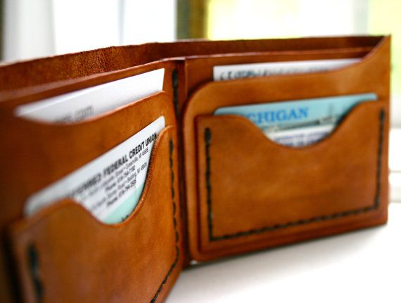 Mens brown leather wallet - billfold wallet with pockets