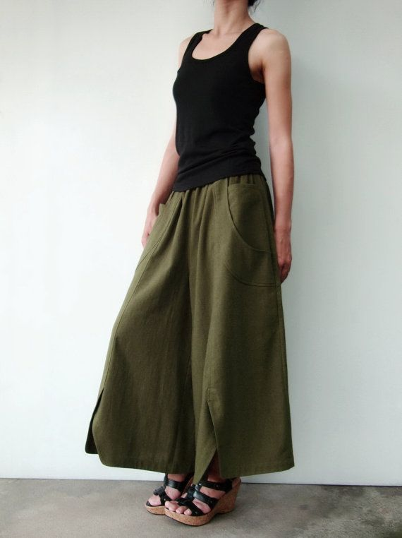 How cool are these pants?! I need one of everything made my Kriten!! NO41   Olive Cotton Wide Leg Pants Unique Pockets by JoozieCotton, $44.00