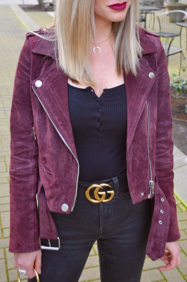 BlankNYC burgundy suede moto jacket + Gucci belt. (Via Confessions of a product Junkie blog.)