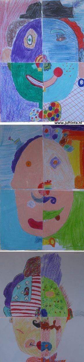 Verdeel de klas in groepen van 4. Bepaal met de groepjes de lijnen van het hoofd zodat deze goed op elkaar aansluiten. Natuurlijk kun je ook bijvoorbeeld de lijnen van de hoed, mond, neus, strik etc. op elkaar afgestemd worden. Daarna gaat iedereen zijn gedeelte van het gezicht tekenen en kleuren. Pas op het laatst …