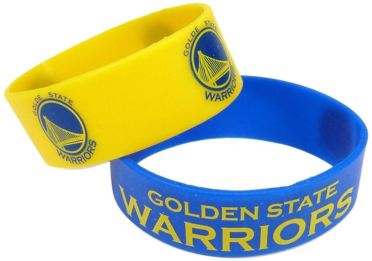 Official NBA Golden State Warriors Silicone Rubber Wrist Bands 2 Pack
