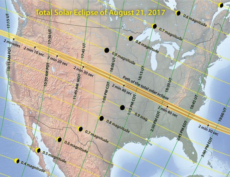 Map of total solar eclipse across United States four years from today/