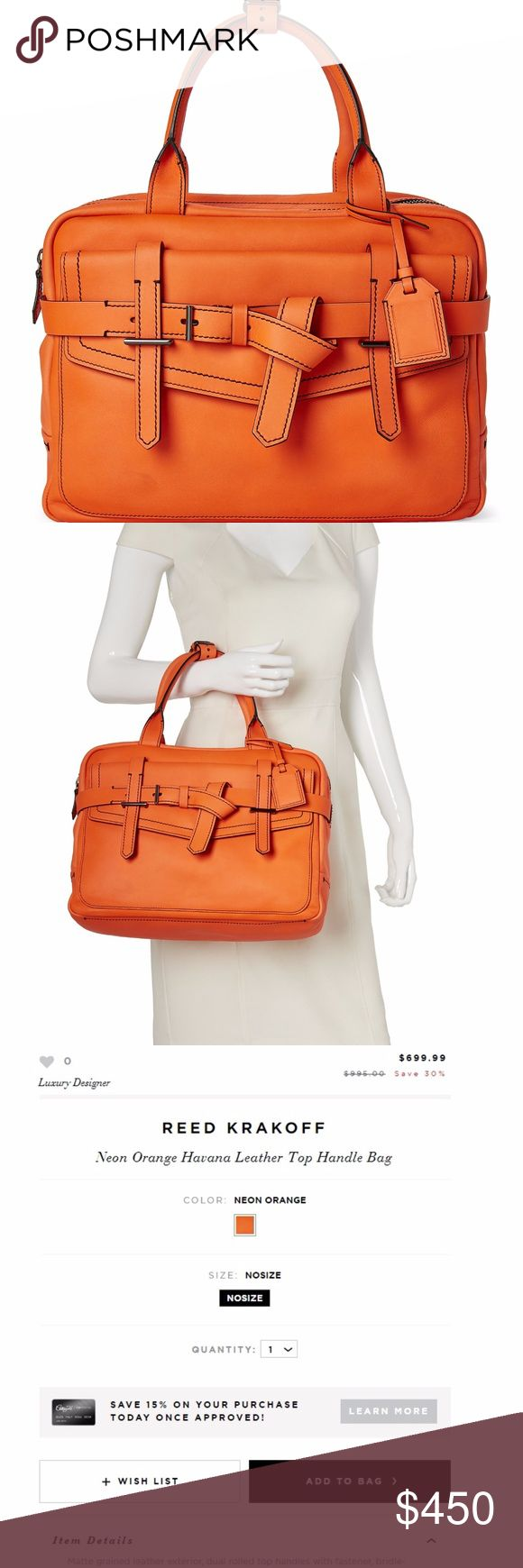 """REED KRAKOFF Neon Orange Havana Leather Bag Matte grained leather exterior, dual rolled top handles, bridle-inspired strap detailing, contrast stitching, front snap-flap pocket. Gunmetal hardware, rear pocket with hidden magnetic closure, detachable ID tag, fabric lining, interior zip and slip pockets, top zip closure, Measurements: 14"""" L x 10"""" H x 5"""" W , Leather body, Made in Italy NO TRADES Currently selling on Century21 for $700.. Gently worn, has some discoloration where the neon rubbed…"""
