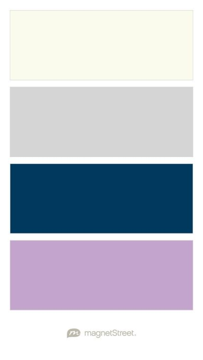 Ivory, Silver, Navy, and Lilac Wedding Color Palette - custom color palette created at MagnetStreet.com