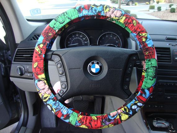 The kids would love this!! :) Steering Wheel Cover marvel comics the avengers by julieshobbyhut, $12.00
