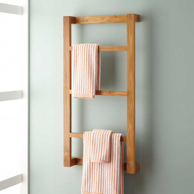 Wulan+Teak+Hanging+Towel+Rack (but in gray, not this color) - next vanity