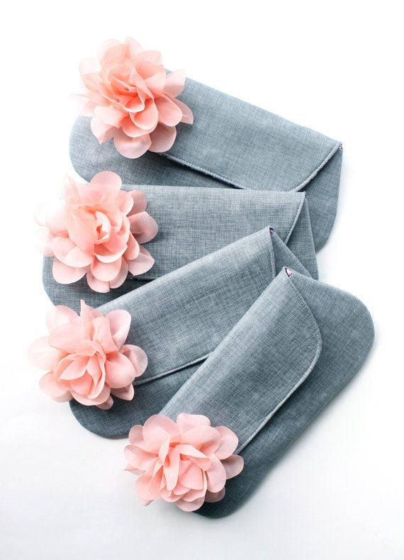 Gray and Peach Bridesmaid Clutch Wedding Clutch by allisajacobs