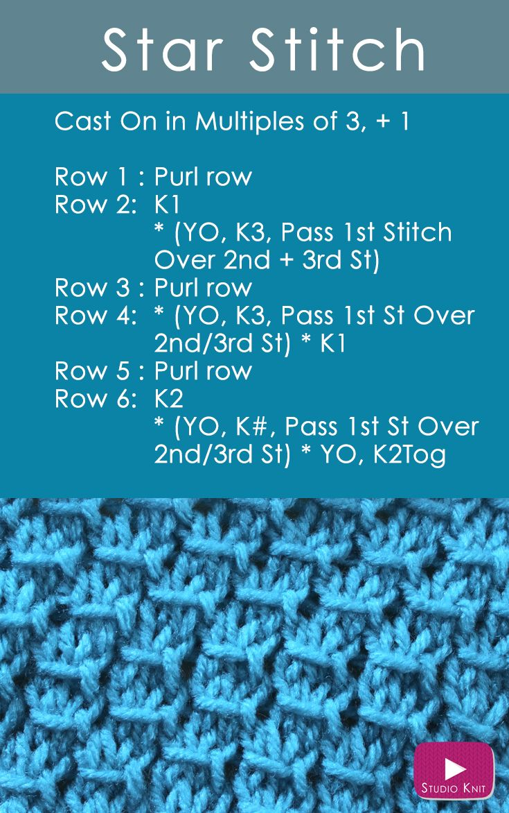 Learn how to Knit the Star Stitch: Receive Easy Free Knitting Pattern + Video Tutorial via @StudioKnit