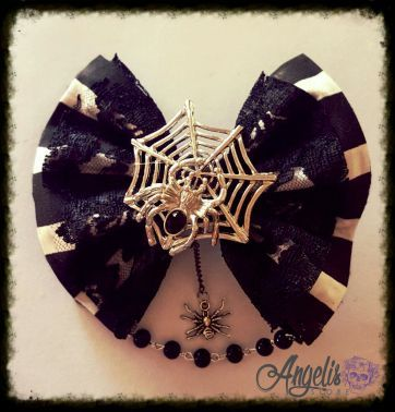 Goth Victorian Bow with Spider Charms and Beads
