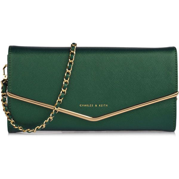 CHARLES & KEITH Small Clutch (110 CAD) ❤ liked on Polyvore featuring bags, handbags, clutches, purses, bolsas, teal, fancy purses, green handbags, charles & keith and green purse