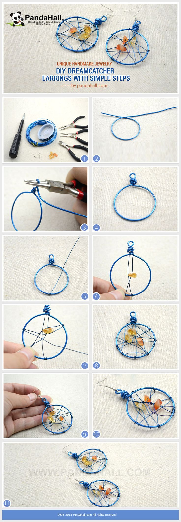 Unique handmade jewelry diy dreamcatcher earrings in 3 for How to make a dreamcatcher step by step