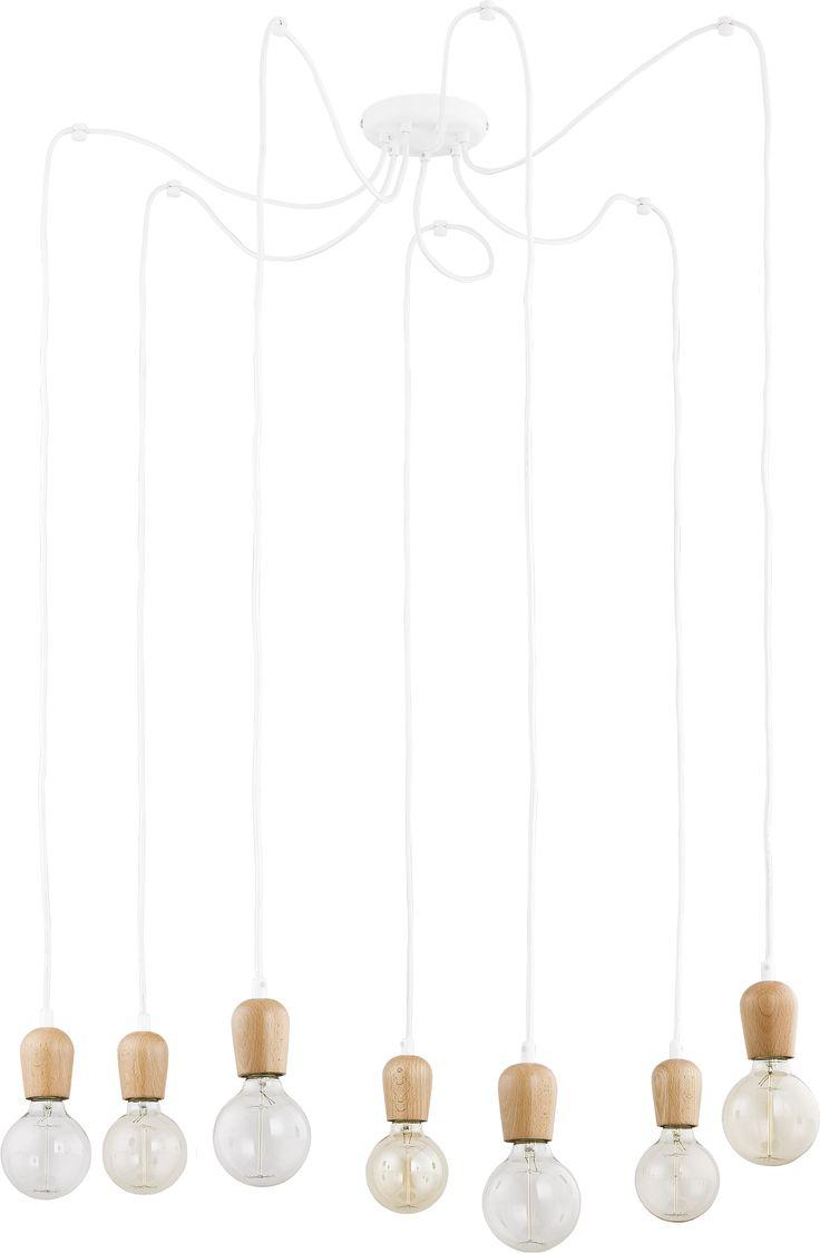 Lampa wiszaca zwis oprawa TK Lighting Qualle 7x60W E27 drewno/ biała 1518 hurtelektryczny.pl