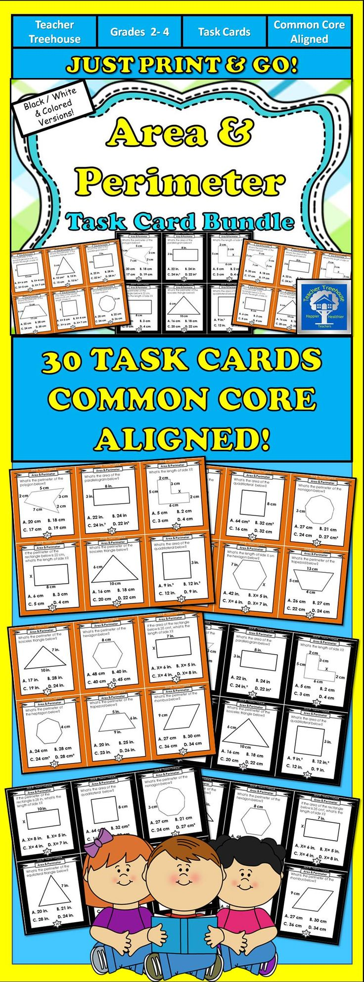 This set of task cards is designed to help your students determine area and perimeter of various geometric shapes.Students will practice: - Identifying the length of a missing side - Determining correct unit labels - Using multiplication to determine the area of a quadrilateral - Associating names of geometric shapes with the number of sides and types of angles - Naming equilateral and isosceles triangles. Task cards have abundant uses and are a valuable resource for any classroom!