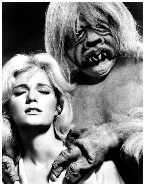 Yvette Mimieux attacked by a Morlock in 'The Time Machine', 1960.