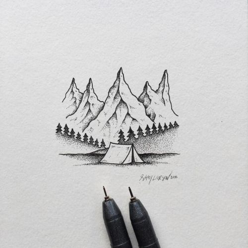 Lil Camping Scene Art Illustration Mountains Camping