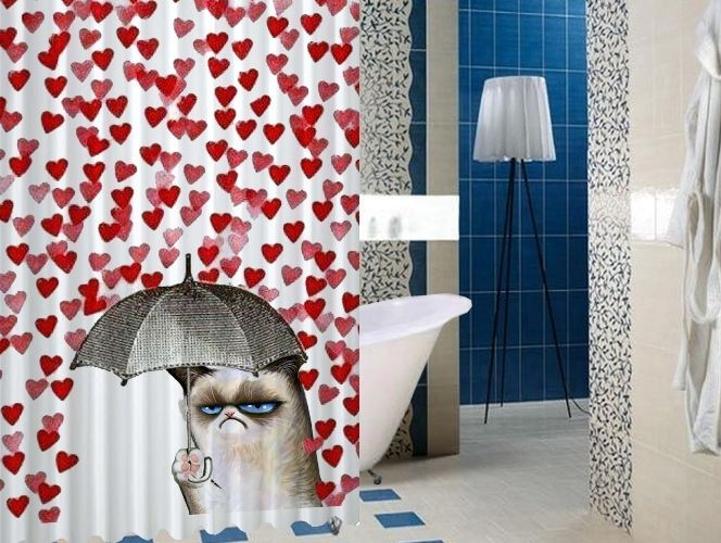 """Grumpy Cat Love Umbrella Design High Quality Custom Shower Curtain 60"""" x 72"""" #Unbranded #Modern #BestQuality #Cheap #Rare #New #Latest #Best #Seller #BestSelling #Cover #Accessories #Protector #Hot #BestSeller #2017 #Trending #Luxe #Fashion #Love #ShowerCurtain #Luxury #LimitedEdition #Bathroom #Cute #ShowerCurtain #CurtainGift"""