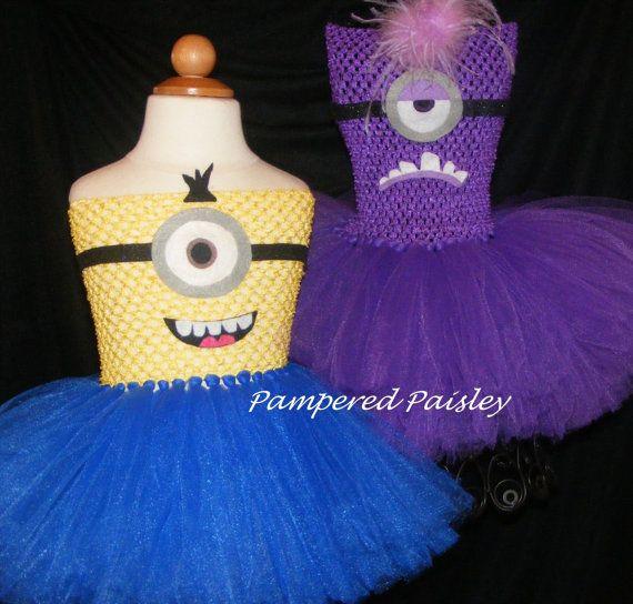 Despicable Me inspired tutu dress Evil minion by PamperedPaisley  Alors la elles vont kiffer!